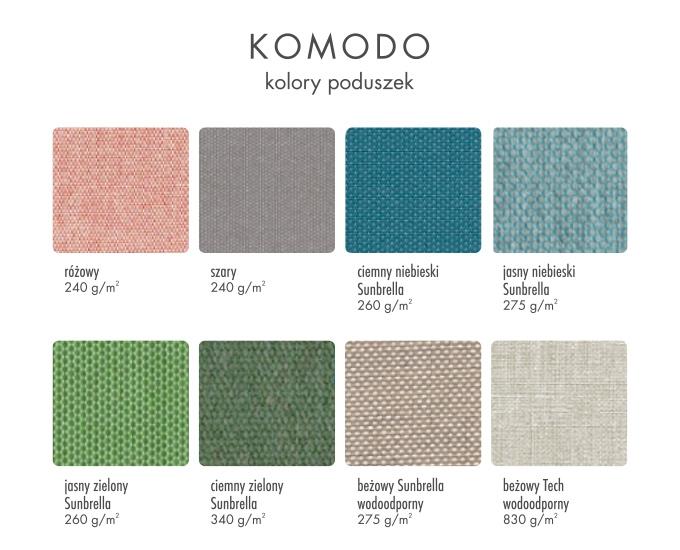 Kolory poduszek Komodo